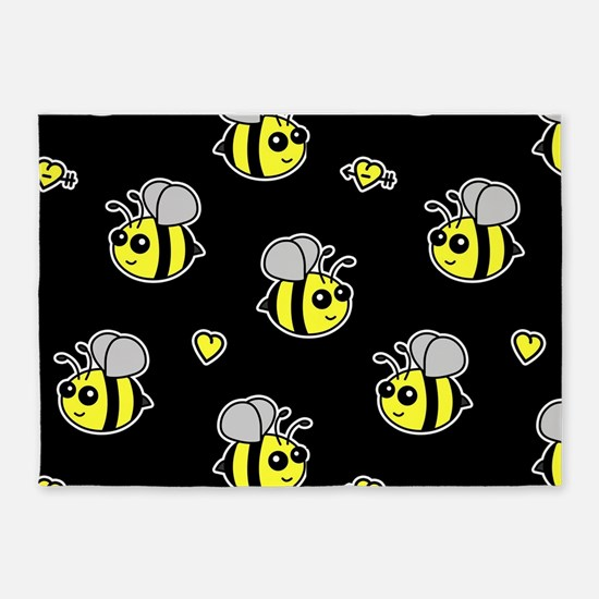 Bumble Bee Pattern Black 5'x7'Area Rug