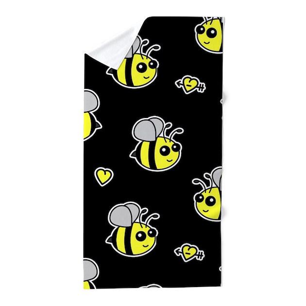 Bumble Bee Pattern Black Beach Towel By Cutetoboot