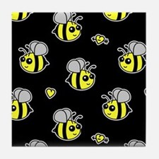 Bumble Bee Pattern Black Tile Coaster