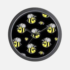 Bumble Bee Pattern Black Wall Clock