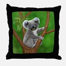 Blue-Eyed Baby Koala Throw Pillow