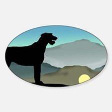 Irish Wolfhound Landscape Oval Decal