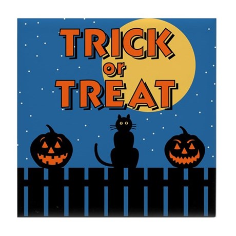 Trick or Treat Fence Tile Coaster