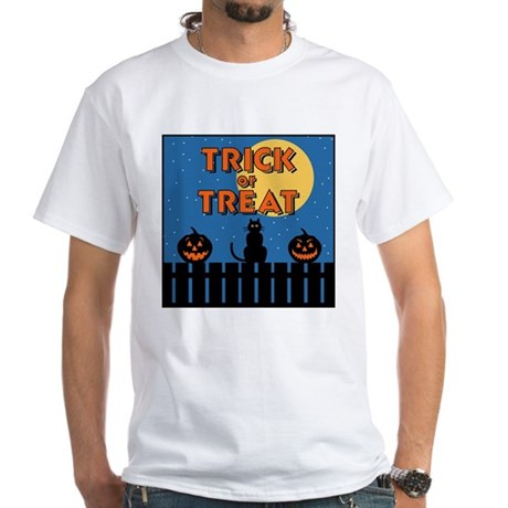 Trick or Treat Fence White T-Shirt