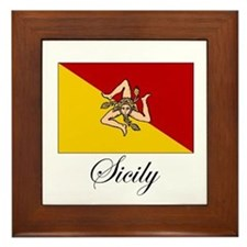 Sicilian Flag - Sicily Framed Tile