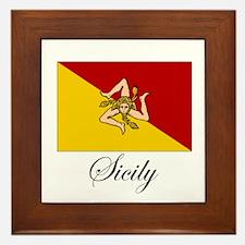 Sicilian Flag - Sicily Framed Tile