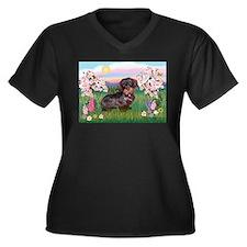 Blossoms / Dachshund Women's Plus Size V-Neck Dark