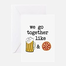 Beer and Pizza Greeting Cards