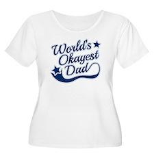 Worlds Okayest Dad Blue Plus Size T-Shirt