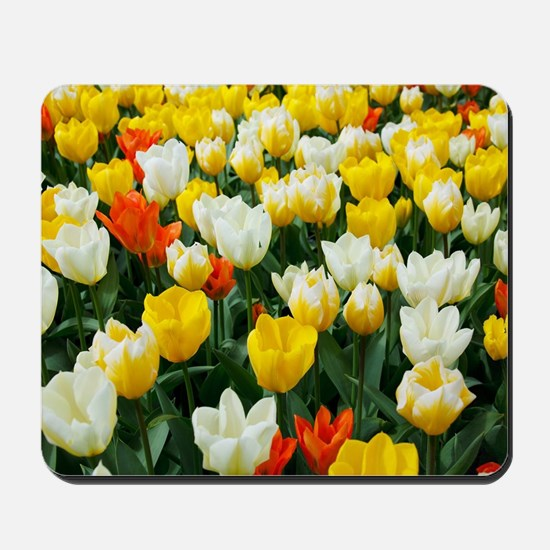 White, Yellow and Orange Tulips Mousepad