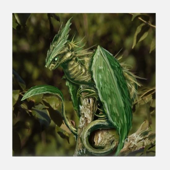 Earth Leaf Dragon Tile Coaster