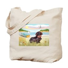 Rowboat / Wire Haired Dachshund Tote Bag