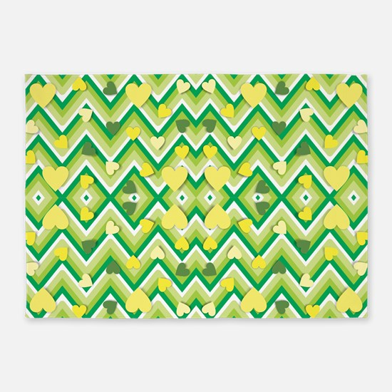 st patricks day green heart 5'x7'Area Rug