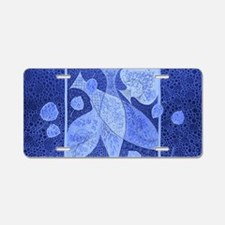 Blue fish and leaves Aluminum License Plate