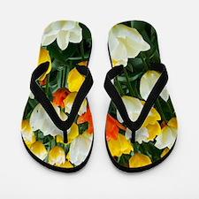 White, Yellow and Orange Tulips Flip Flops