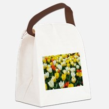 White, Yellow and Orange Tulips Canvas Lunch Bag
