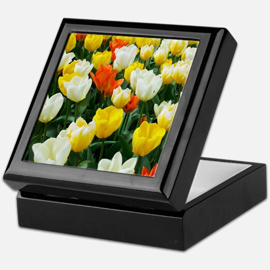 White, Yellow and Orange Tulips Keepsake Box