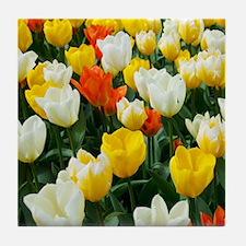 White, Yellow and Orange Tulips Tile Coaster