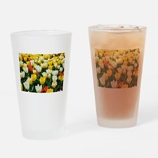 White, Yellow and Orange Tulips Drinking Glass