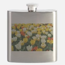 White, Yellow and Orange Tulips Flask