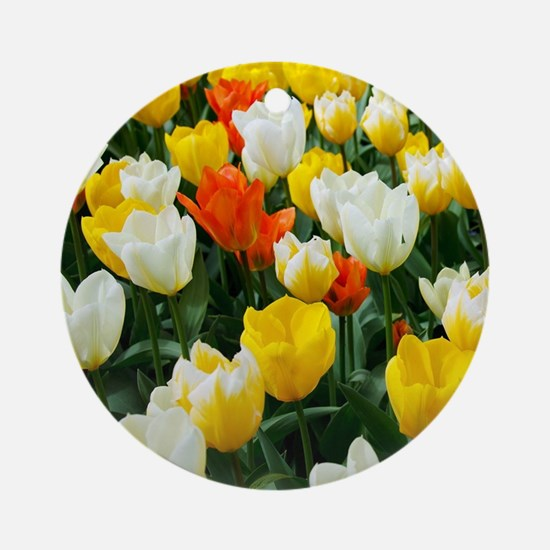 White, Yellow and Orange Tulips Ornament (Round)