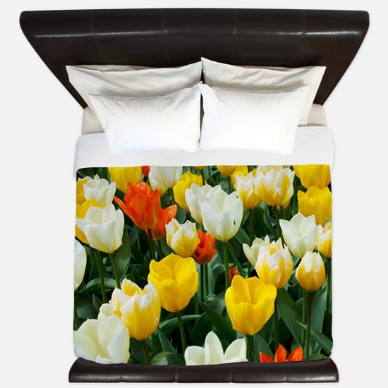 White, Yellow and Orange Tulips King Duvet
