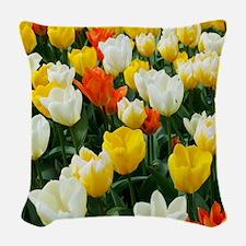 White, Yellow and Orange Tulip Woven Throw Pillow
