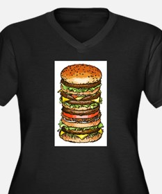 stacked burger drawing art Plus Size T-Shirt