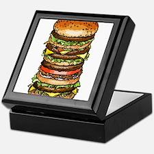 stacked burger drawing art Keepsake Box