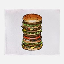 stacked burger drawing art Throw Blanket