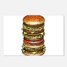 stacked burger drawing ar Postcards (Package of 8)