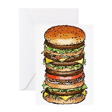stacked burger drawing art Greeting Cards