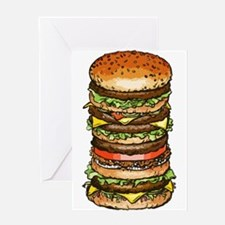 stacked burger drawing art Greeting Cards