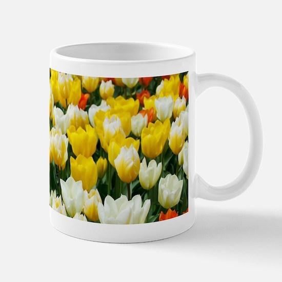 White, Yellow and Orange Tulips Mugs