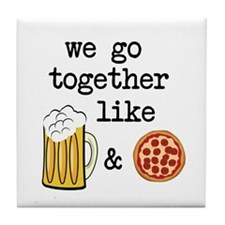 Beer and Pizza Tile Coaster