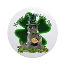 St Patrick's Day Raccoon with Pot Ornament (Round)