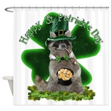 St Patrick's Day Raccoon with Pot o Shower Curtain