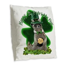 St Patrick's Day Raccoon with Burlap Throw Pillow