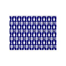 Navy Blue Kitchen Utensils Pattern 5'x7'Area Rug