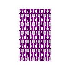 Purple and White Kitchen Utensils Pattern Area Rug