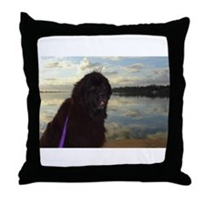 Newfie River Reflections Throw Pillow