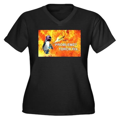 Torch fix all Women's Plus Size V-Neck Dark T-Shir