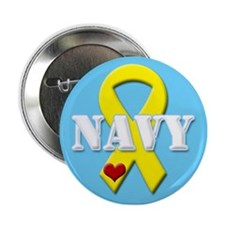 Navy Yellow Ribbon Button