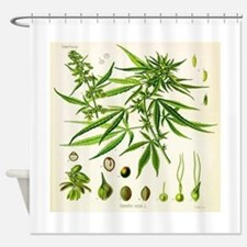 Cannabis or Hemp Illustration Shower Curtain