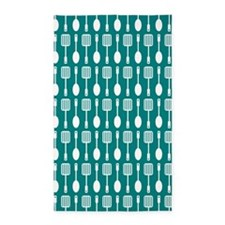 Teal and White Kitchen Utensils Pattern B Area Rug