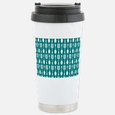 Teal and White Kitchen Stainless Steel Travel Mug