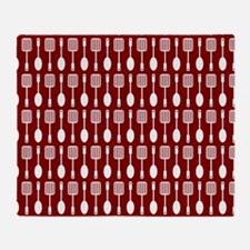 Red and White Kitchen Utensils Patte Throw Blanket
