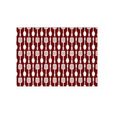 Red and White Kitchen Utensils Patt 5'x7'Area Rug