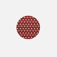 Red and White Kitchen Utensils Pattern Mini Button