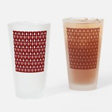 Red and White Kitchen Utensils Patt Drinking Glass